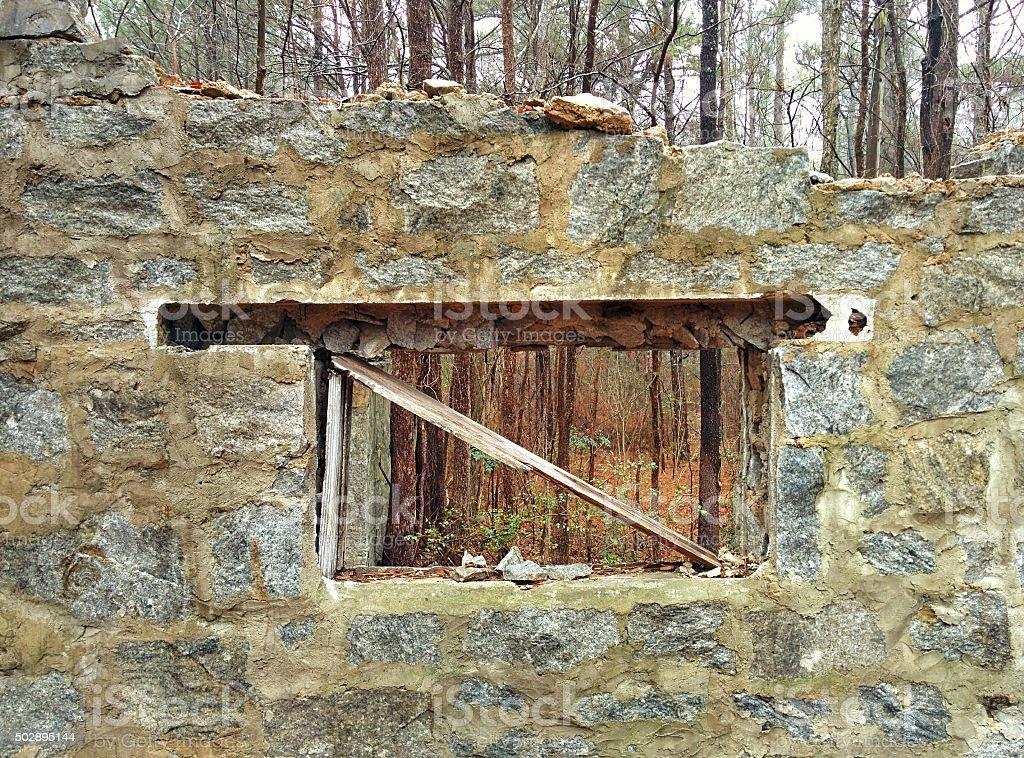 Broken Granite Window stock photo