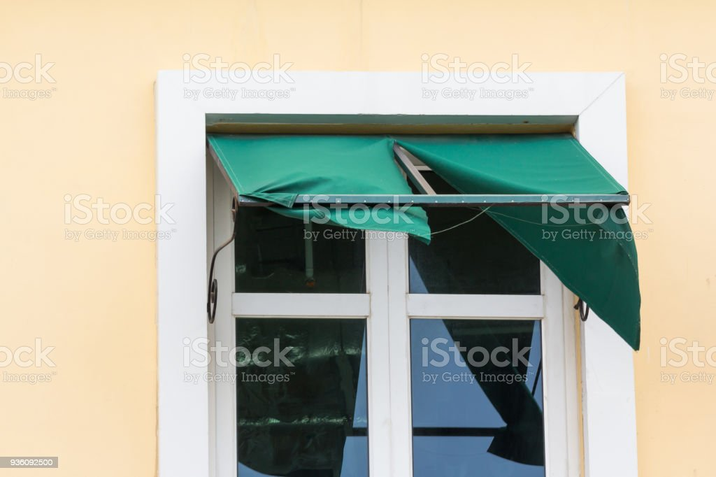 Broken Green Awning Damaged Canvas Shading Need To Replace Stock Photo Download Image Now Istock