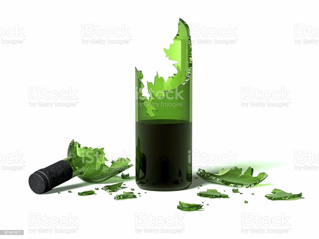 Broken green glass wine bottle on a white background royalty-free stock photo
