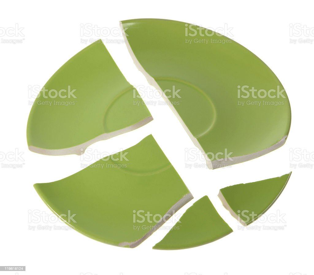 Broken green plate on white stock photo