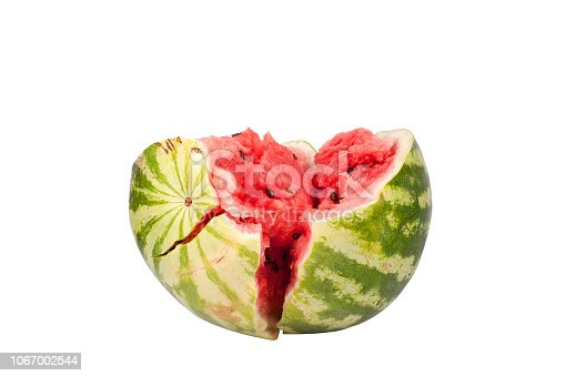 Broken half of watermelon on white background isolated close up