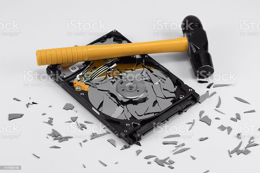 Broken Hard Disk Drive and Hammer stock photo
