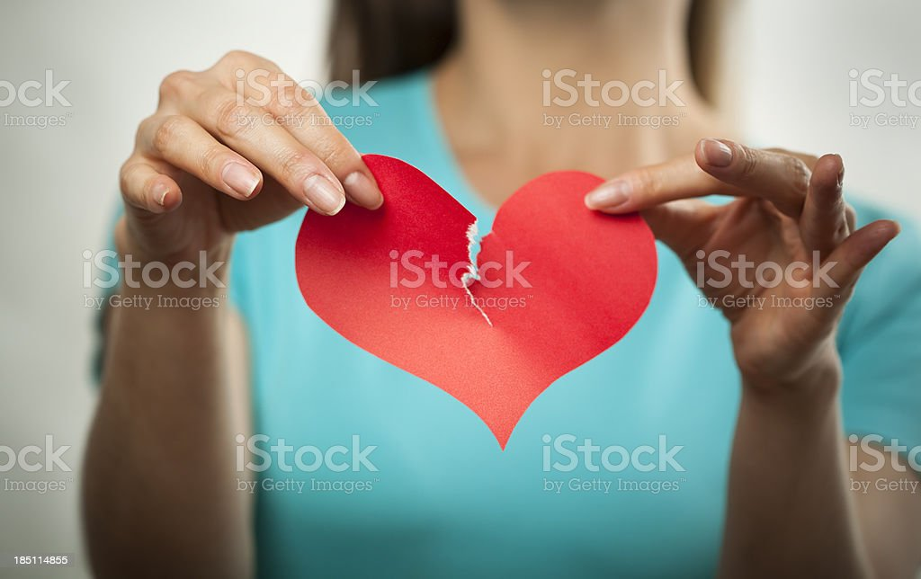 Broken heart and breaking up concept stock photo