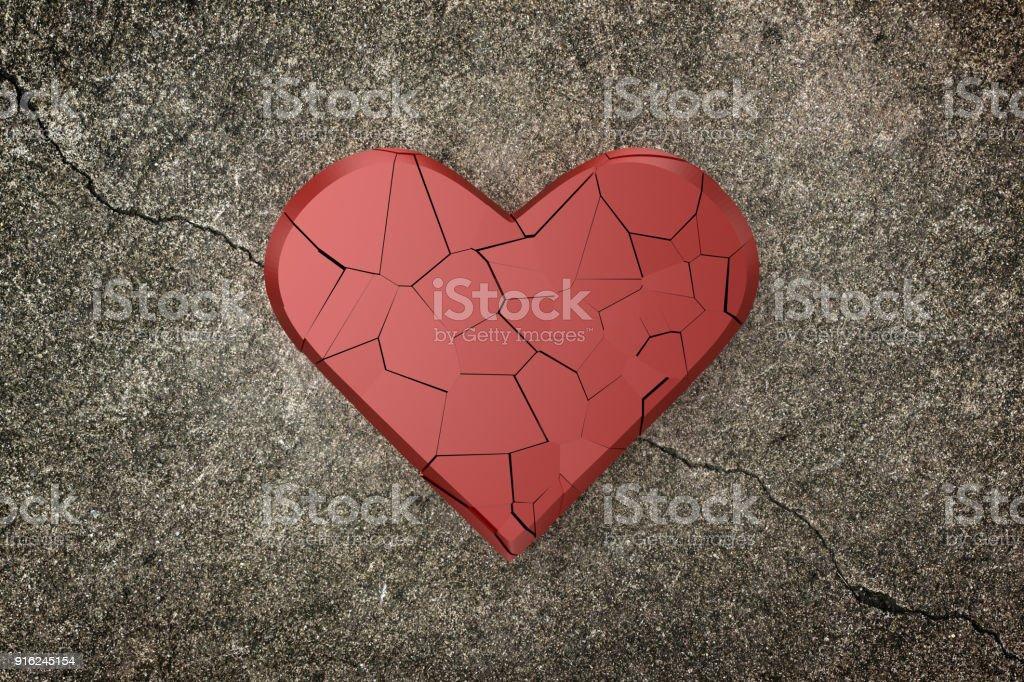 Broken heart background. 3D rendering. stock photo