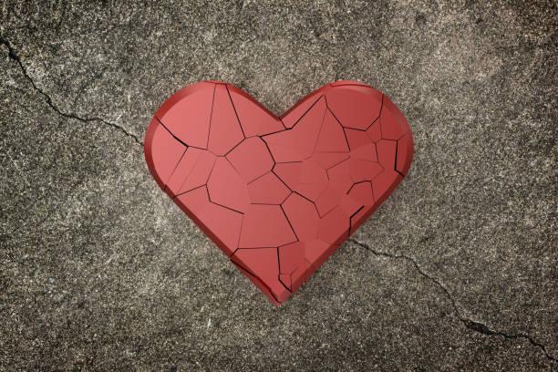 gebroken hart achtergrond. 3d-rendering. - liefdesverdriet stockfoto's en -beelden