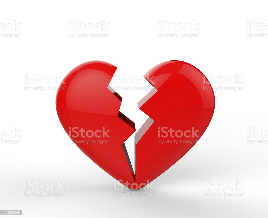 Broken Heart Heartbreak Full Of Love On White Background Stock Photo