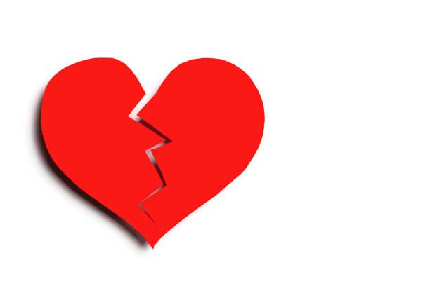 gebroken hart geïsoleerd op een witte achtergrond met kopie ruimte. uitgesneden - liefdesverdriet stockfoto's en -beelden