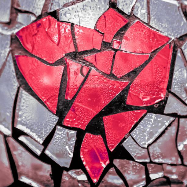 broken heart mosaic stock photo