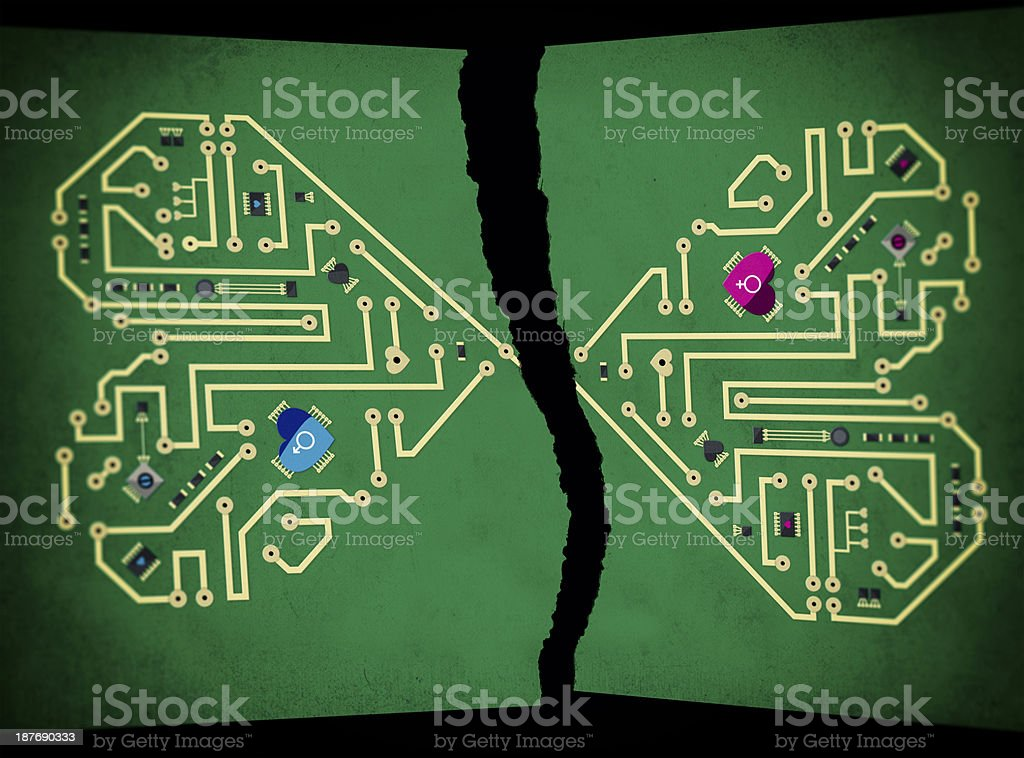 broken heart motherboard royalty-free stock photo