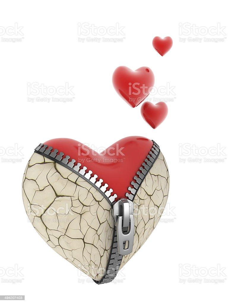 broken heart reborn - 3d concept stock photo