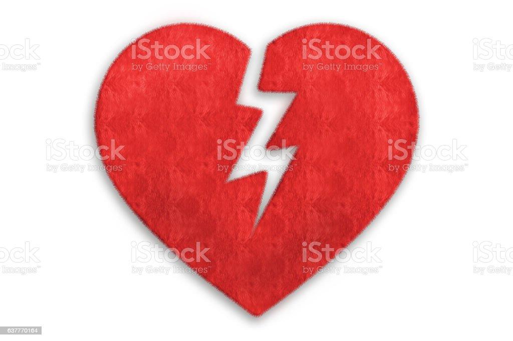 Broken Heart, red fur stock photo
