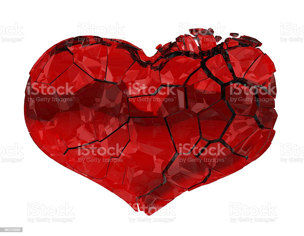 XXXL Broken Heart - unrequited love, death, disease or pain royalty-free stock photo