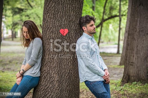 Symbolic image of young unhappy couple breaking up
