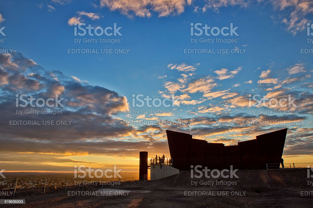 Broken Hill miners memorial at sunrise stock photo