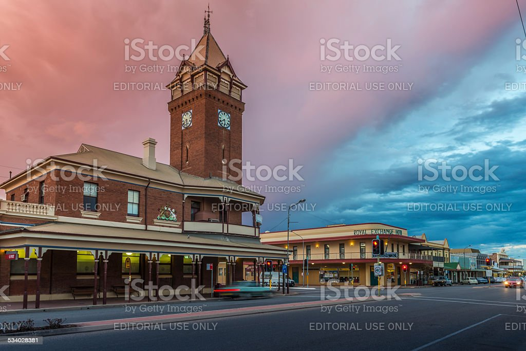 Broken Hill Post Office and Royal Exchange Hotel, Australia. Twilight. stock photo