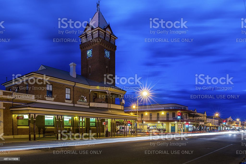 Broken Hill Post Office at twilight, New South Wales, Australia stock photo
