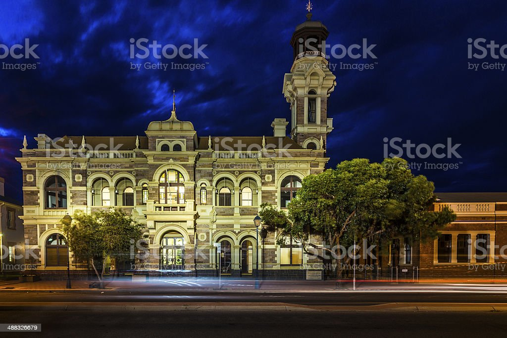 Broken Hill Town Hall, Historic Facade. Evening Illlumination. stock photo