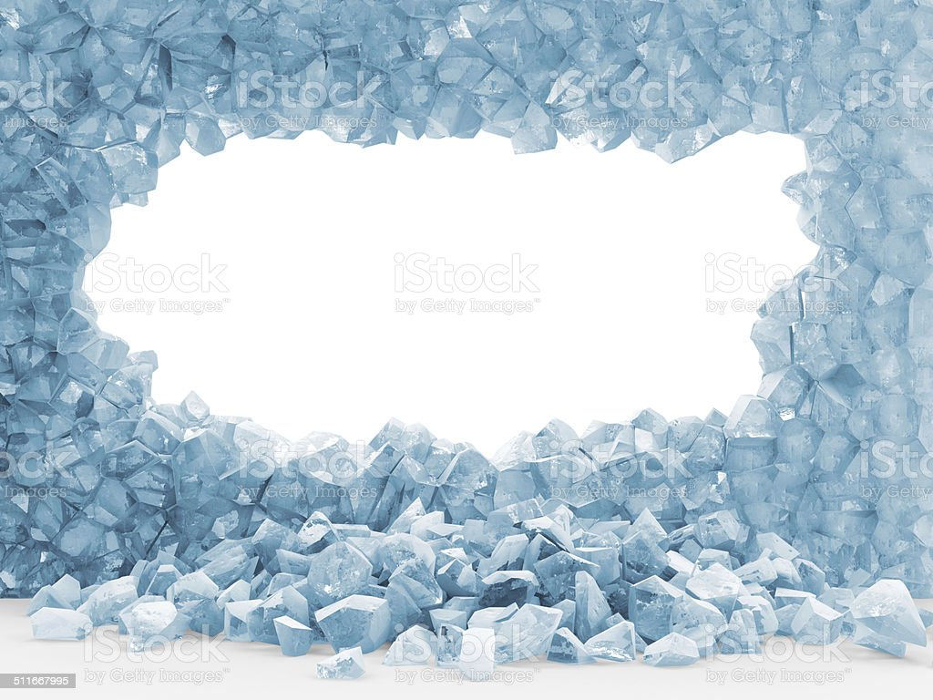Broken Ice Wall isolated on white background stock photo