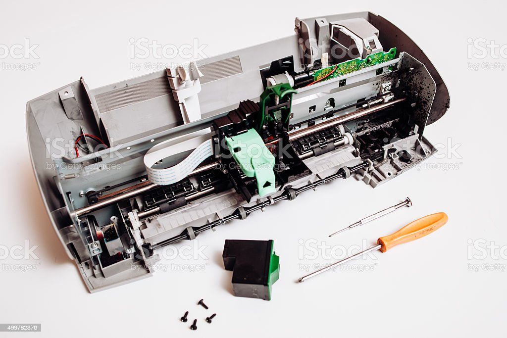 Old dirty parts of the broken ink jet printer on the white background