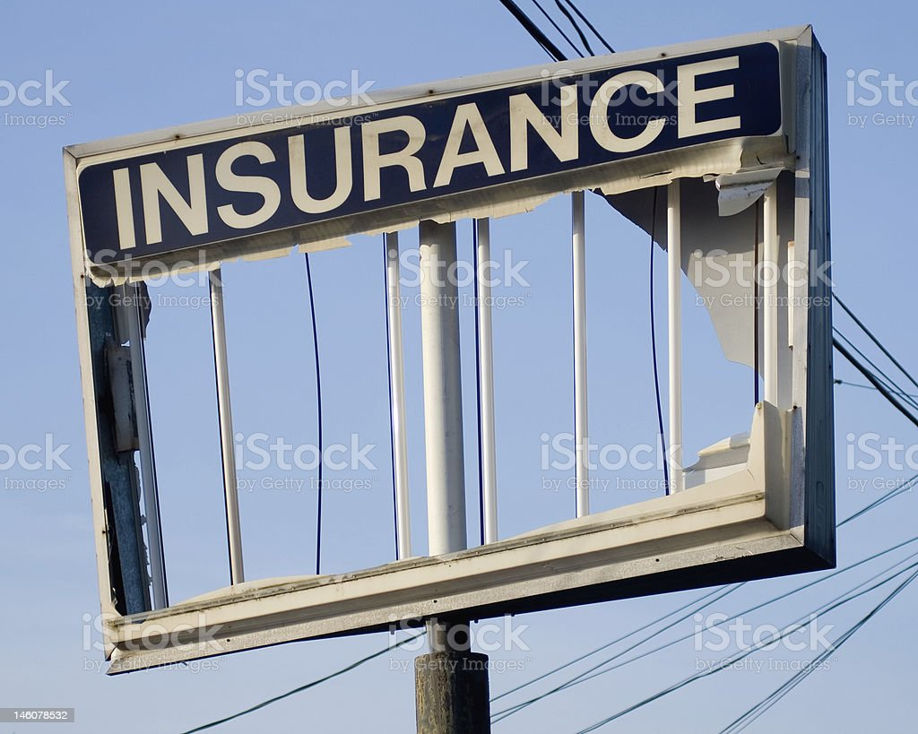 Broken Insurance Sign stock photo