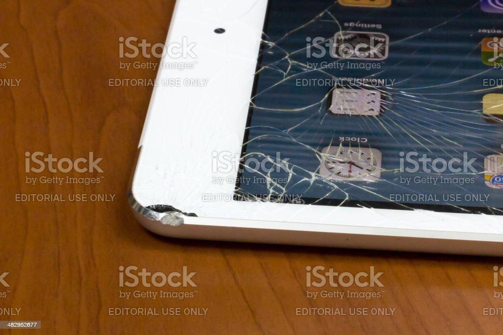 Broken ipad mini stock photo