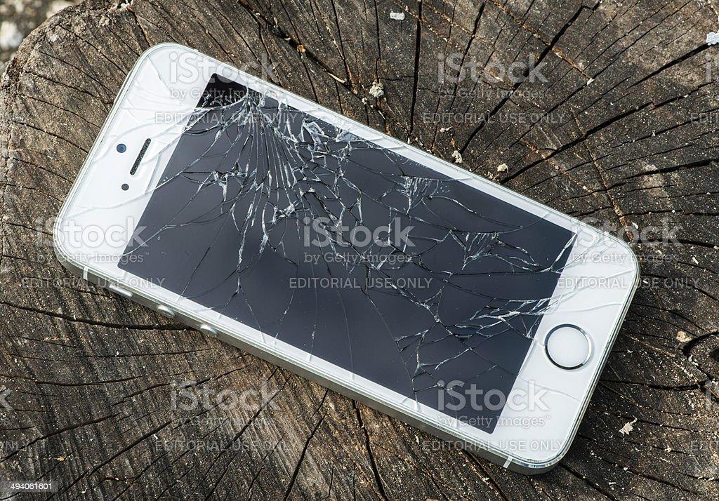 Broken iphone stock photo