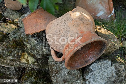 106415613istockphoto A broken jug on the green grass. 1030544436