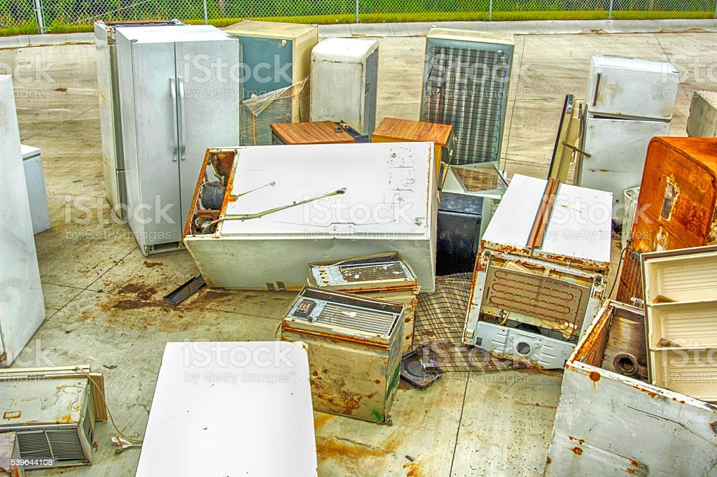 Broken Kitchen Appliances At A Recycling Center Stock Photo ...