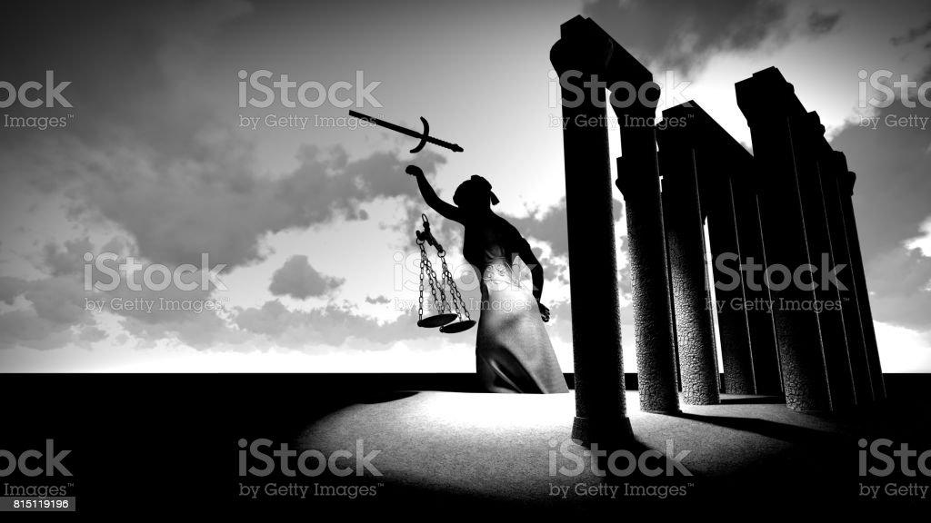 Broken lady of justice 3d rendering stock photo