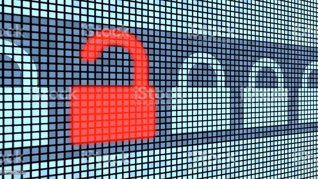 Broken lock security concept stock photo