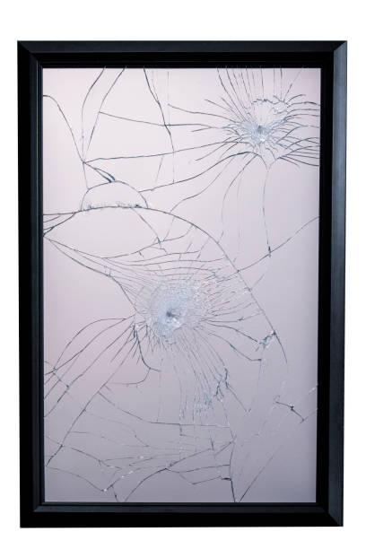 Broken Mirror with frame stock photo