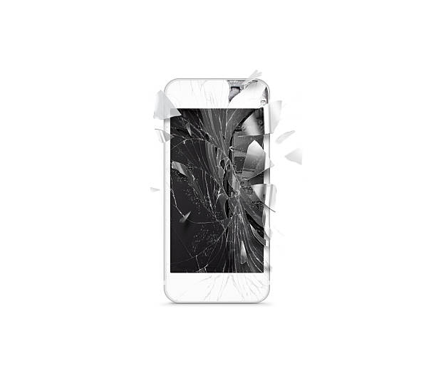 Broken mobile cell phone screen, scattered shards, isolated. stock photo