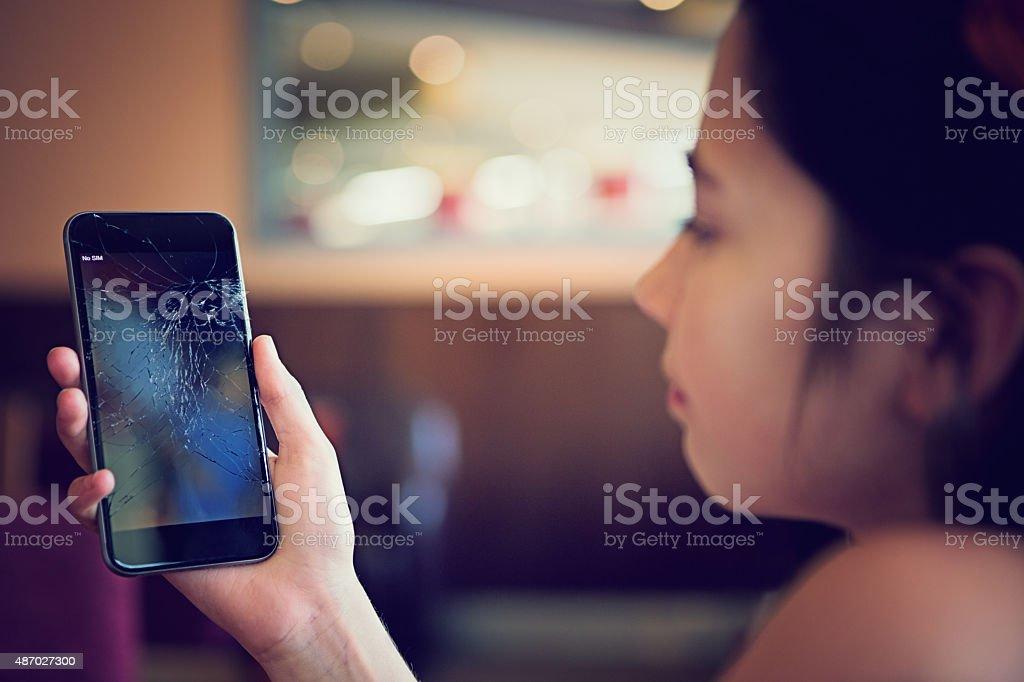 Broken mobile phone royalty-free stock photo