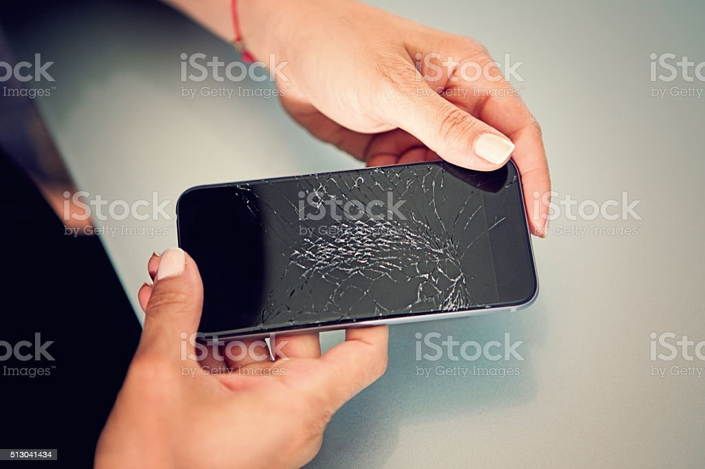 Broken mobile phone stock photo