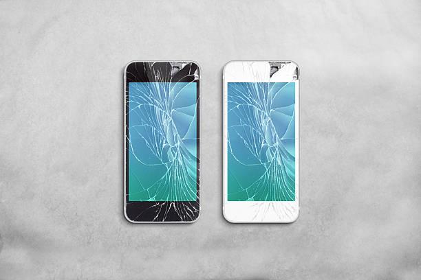 Broken mobile phone screen, black, white, clipping path. stock photo