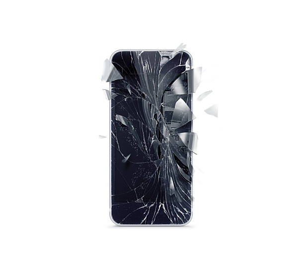 Broken mobile phone screen, scattered shards - foto de stock