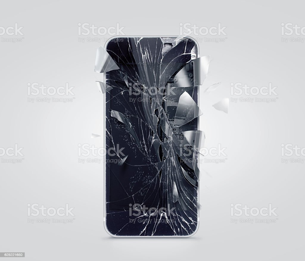 Broken mobile phone screen, scattered shards. Smartphone display crashed and stock photo