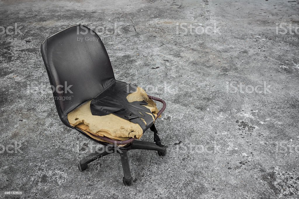 Broken Old Chair On Dirty Floor Royalty Free Stock Photo