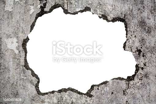 istock Broken old grunge wall on white with clipping path 1040451628
