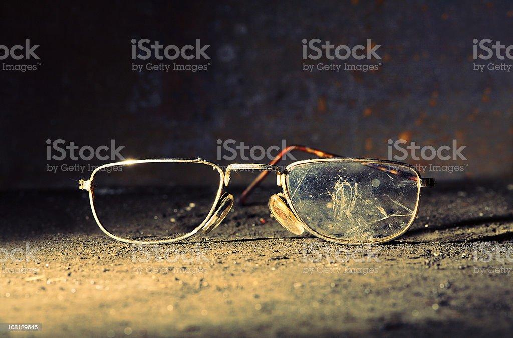 Broken Old-fashioned Male Glasses stock photo