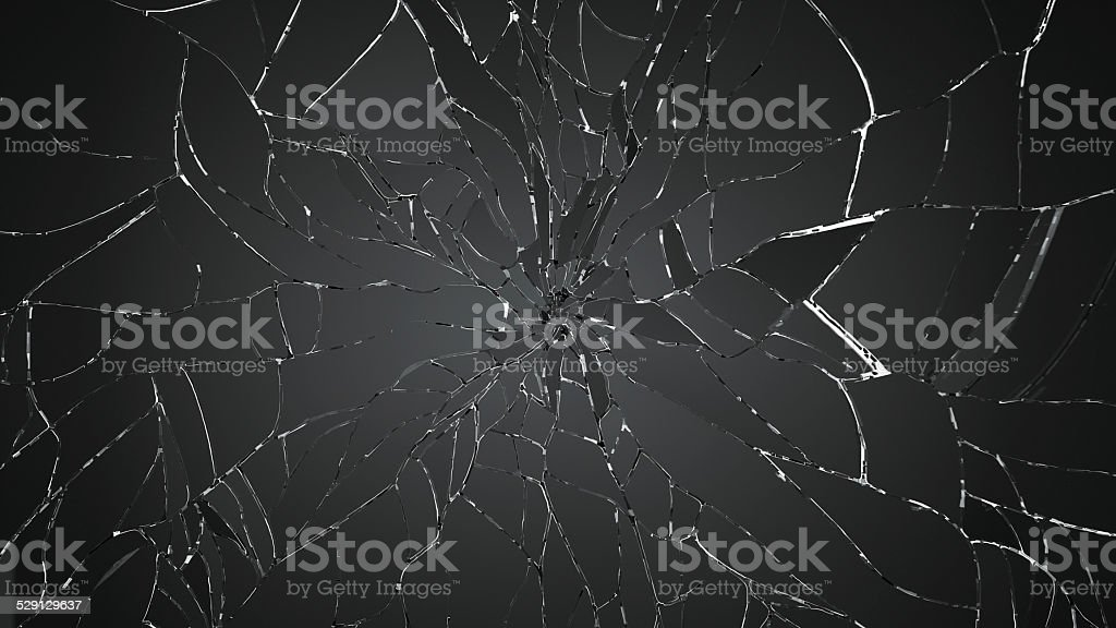 Broken or Shattered glass on white stock photo