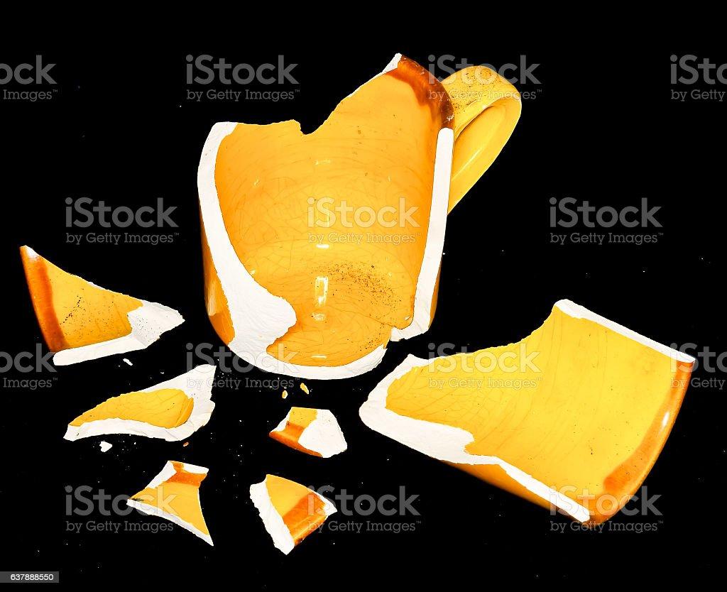 Broken Orange Coffe Cup stock photo