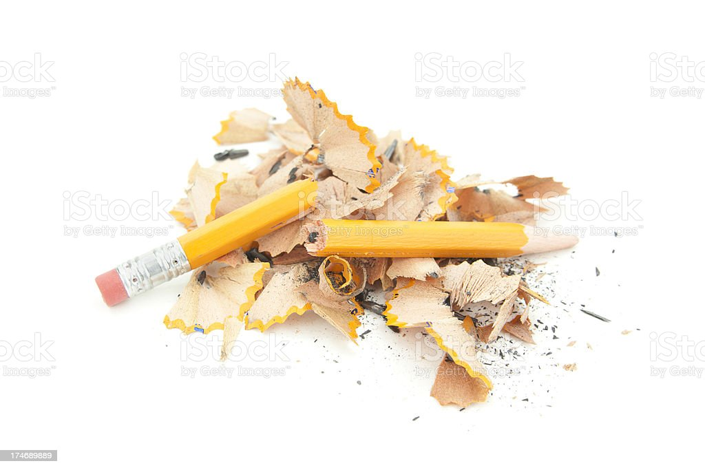 Broken Pencil and Shavings stock photo