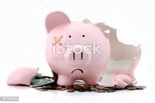 istock Broken piggy bank 91765702