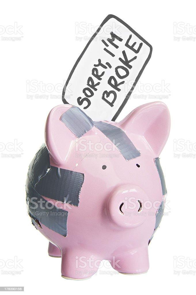 Broken Piggy Bank With Sorry Im Broke Label Stock Photo - Download ...