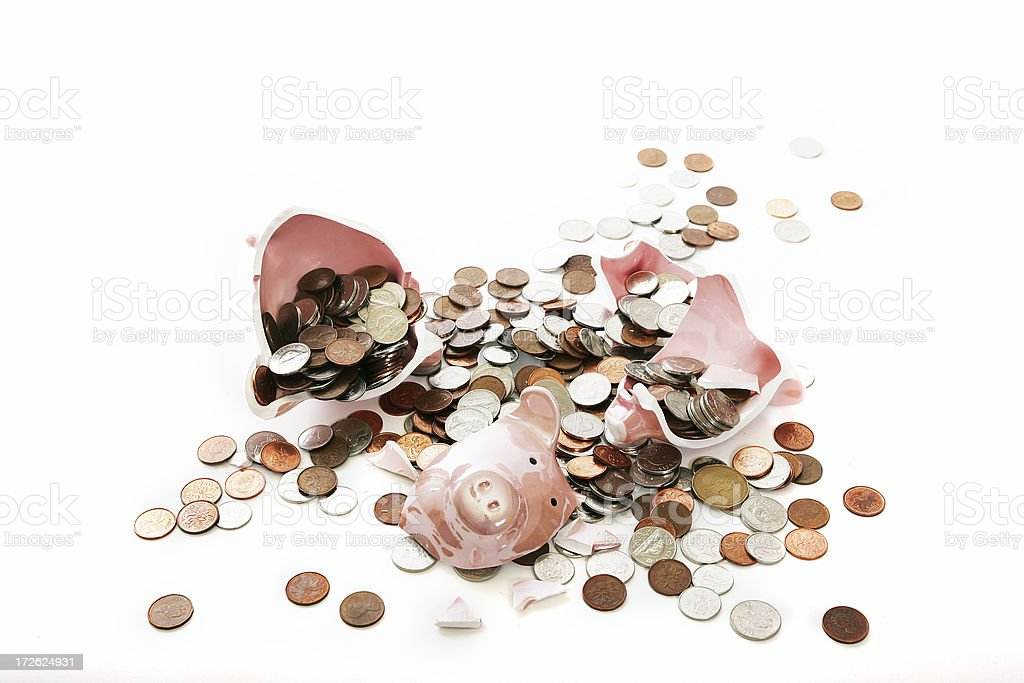 Broken piggy stock photo