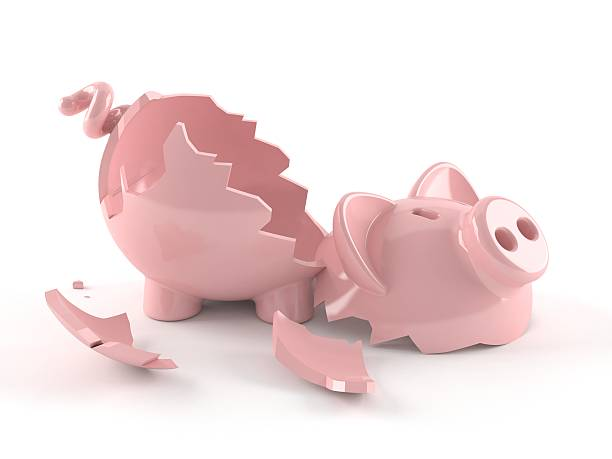 Broken piggybank stock photo