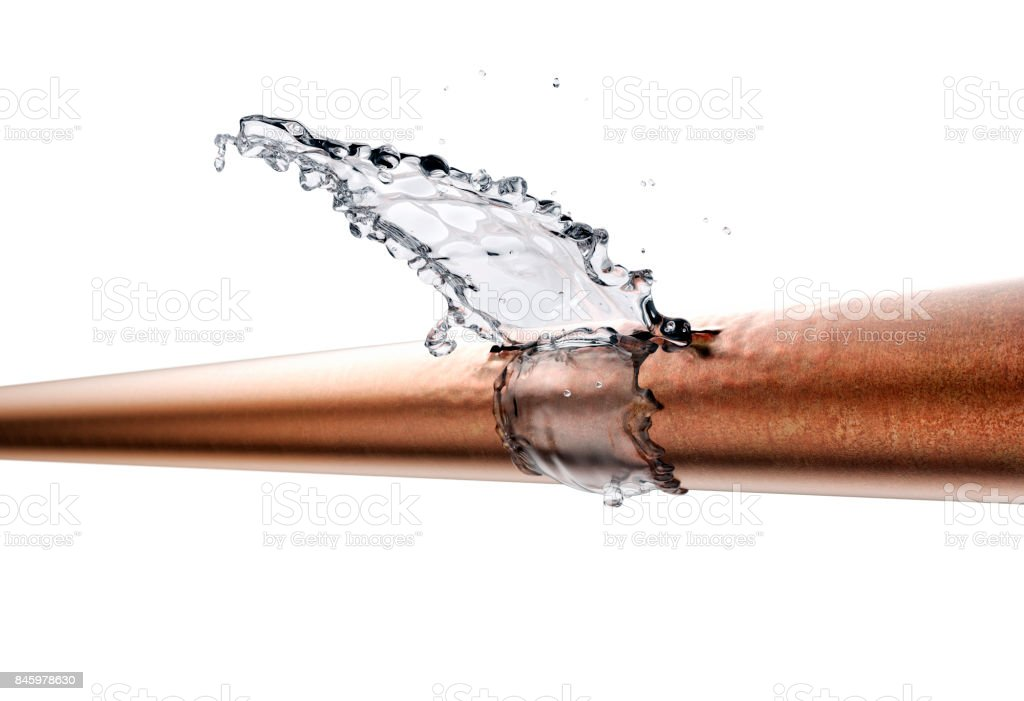 broken pipe is leaking water, isolated on white stock photo