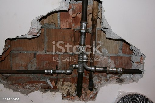 a heating pipe broken in a house