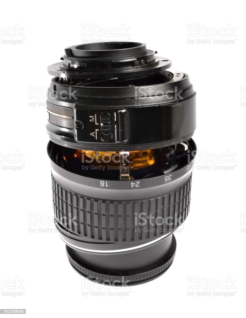 broken plastic zoom lens isoletaed on white stock photo